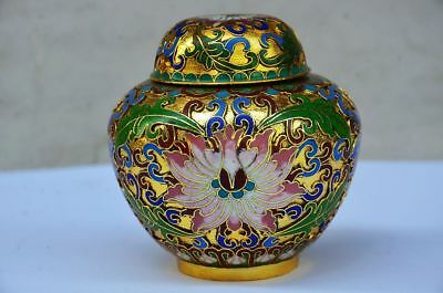 Exquisite Chinese Cloisonne Handwork Flower Storage Tank Zrf