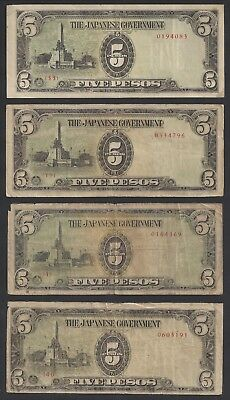"""CIR 4 Notes"" 1943 Philippines 5 Pesos Japanese Occupation P-110a. #326"