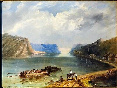 RARE: WH Bartlett, Original Oil, 'View on the Susquehanna at Liverpool', c 1840