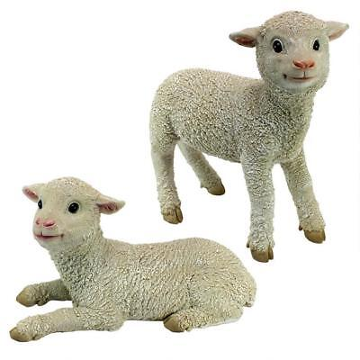 Ramses and Aries Lamb Statues Set 2 Outdoor Garden Lawn Easter Decoration Resin
