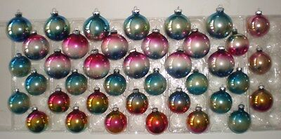 Lot Of 39 VTG Antique Two Tone Ombre Shiny Brite USA Glass Christmas Ornaments