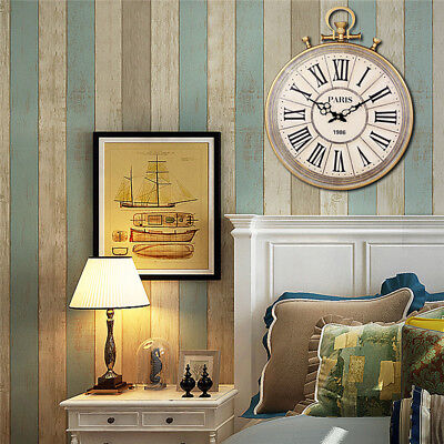 AU Giant Vintage Roman Numbers Wall Clock Watch Style Silent Home Room Decor