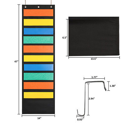 Wall File Organizer 10 Storage Pocket Classroom Office Folder Hanging Holder AU