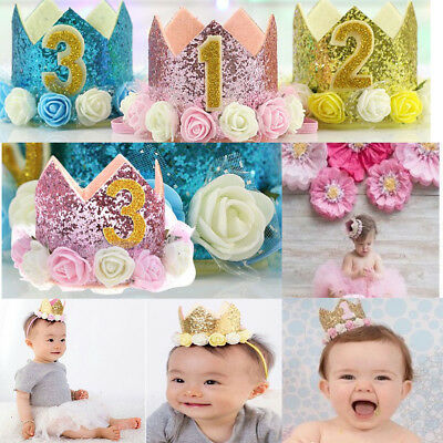 Baby Birthday Crown Hat 1st 2nd 3rd Cake Smash outfit Party Photoshoot Girl Boy