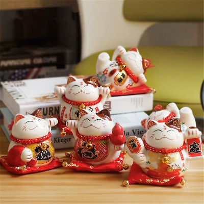 Maneki Neko Piggy Ceramic Lucky Cat  Bank Figurine Home Decor With Red Cushion