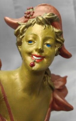 Antique old vintage French Art Nouveau maiden bust Les Cerise Cherry woman girl
