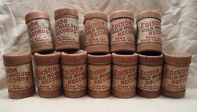 #3 Lot of 12 Antique Edison Phonograph Cylinder Records