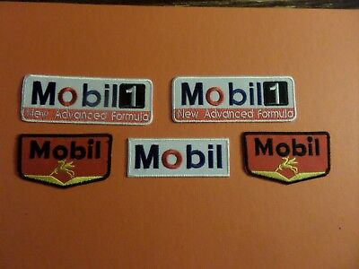 Lot Of 5 -Mobil Oil Embroidered Iron Patches