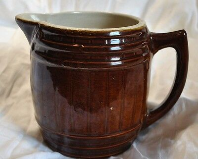 Vintage UHL Pottery Barrell Pitcher Brown