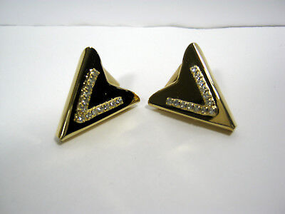 """Vintage Usa Made """"V"""" For Victory Rhinestones On Gold Tone Collar Tips"""