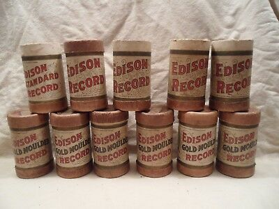 #6 Lot of 11 Antique Edison Phonograph Cylinder Records