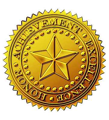 Starburst Embossed and Gold Foil Certificate Seal 1.75 Inch Pack of 48 Pieces
