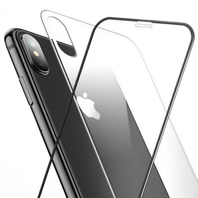 5D Curved Full Front Rear Tempered Glass Screen Protector For iPhone XS MAX XR X