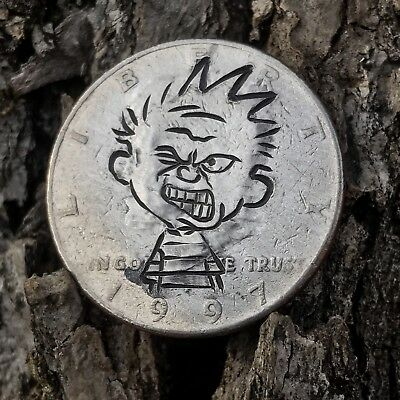 Real Hobo Nickel Coin Art JFK Half Hand Carved Half Dollar Calvin And Hobbes