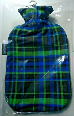 FASHY 2.0L HOT WATER BOTTLE WITH TARTAN COVER Made in Germany (6536 67)