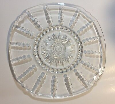 "Vintage Antique  Clear Glass 11"" Platter"