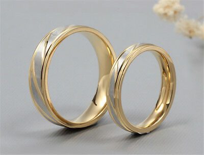 Personalized Engagement Band Ring Custom Name Simple Twill Lovers Couple Rings