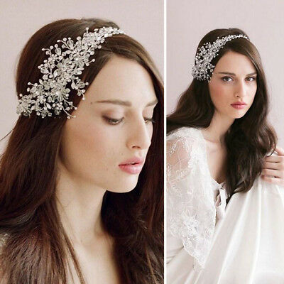 Silver Flower Crystal Rhinestone Wedding Bridal Headband Clip Hair Band Tiara US