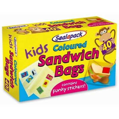 Kids Coloured Sandwich Bags With Funky Stickers 30 Pack Seal A