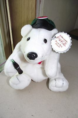 Coca Cola Plush Polar Bear In Drivers Cap And Bow Tie New With Tags Collectible