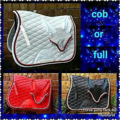FREE FLY VEIL jumping set Saddle Pad cloth numnah cob or full size 3 COLOURS