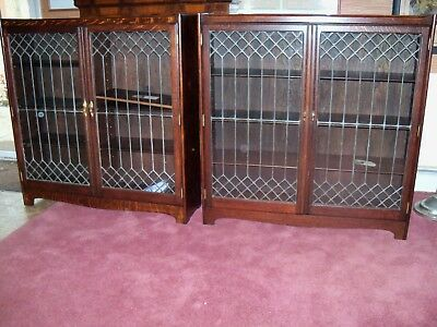 Antique Oak Bookcase pair of quarter sawn leaded glass bookcases Hotel Pantlind