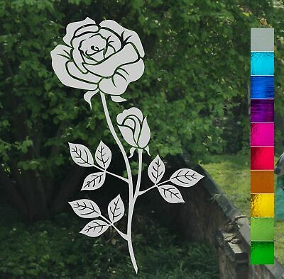Single Rose Flower and Bud Frost Etch Stained Glass Effect Window Sticker