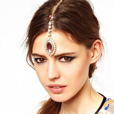 New Pink Crystal Drop Pendant Forehead Chain Jewellery Indian Tikka Hairpin