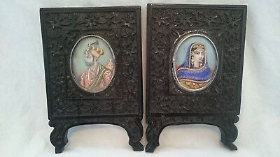 Antique Pair Of Indian Painted Portriat Miniatures Carved Frames