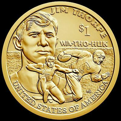 "2018 D Sacagawea Native American Dollar US Mint Coin ""BU"" Jim Thorpe"