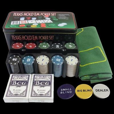 Poker Game Cards Set Texas Hold Table Blackjack Layout 200 Pcs Chips For Playing