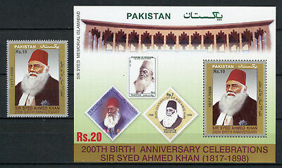 Pakistan 2017 MNH Sir Syed Ahmed Khan 1v Set + 1v M/S Stamps on Stamps