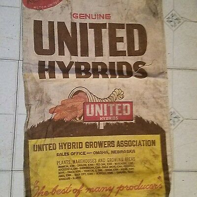 1950 United Hybrids Seed Corn  Seed Sack With Tag (Kernal Koated)