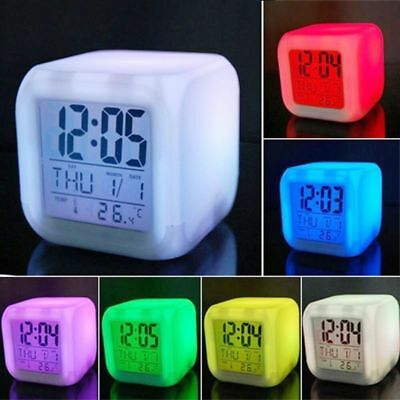 Vinmax Digital Alarm Thermometer Night Glowing Cube 7Colors Clock LED Change LCD