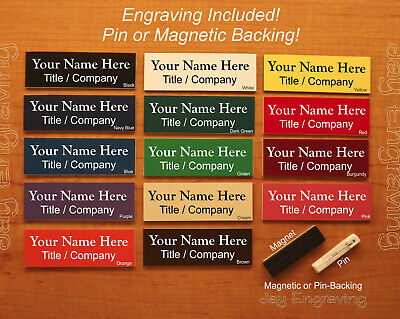 Custom Engraved 1x3 Name Tag ID Badge with Pin or Magnetic Backing | 14 Colors!