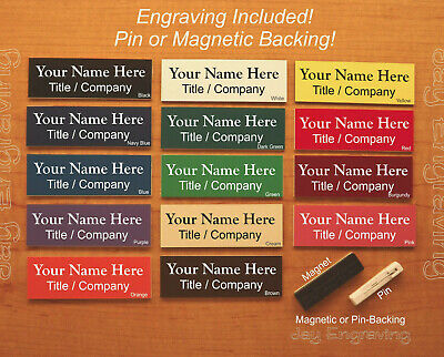 Custom Engraved 1x3 Name Tag | Employee ID Badge with Pin or Magnetic Backing