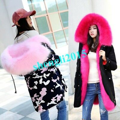 114e2eee7784 Luxury Warm Womens Hooded Real Fox Fur Parka Thick Outwear Fashion Military  Coat