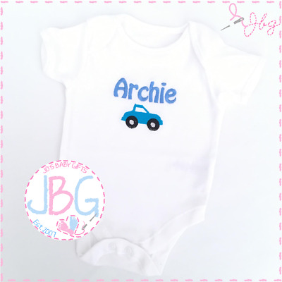 Personalised Baby Boy Vest, Embroidered Bodysuit with Car Design, New Baby Gift