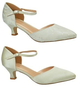 Ivory Wedding Bridal Low Heel Satin Lace Ankle Strap Court Shoes Wider Fit Size