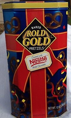 Baked Rold Gold Pretzels Covered With Nestle Milk Chocolate Tin 1996
