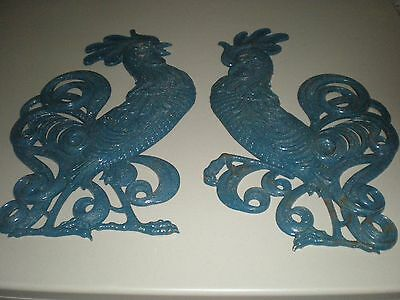 "Pair Vintage Wall Roosters SEARCY Cast Aluminum Art Sculpture 20"" USA 1960's"