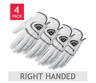 Callaway Men's Premium Cabretta Leather Golf Golfer Glove Right Handed 4 Pack