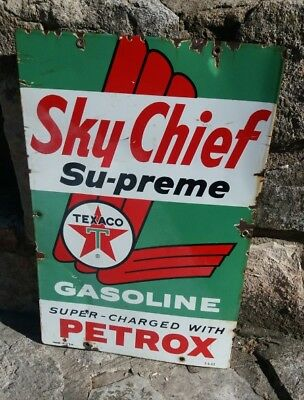 "Porcelain ""Sky Chief Supreme Petrox Gas Sign gas pump plate 1962"