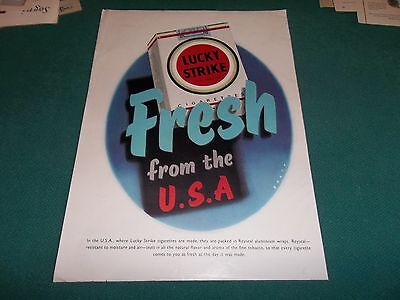 pubblicità 1956 SIGARETTE LUCKY STRIKE FROM THE U.S.A. FRESH. PEPSI COLA ADVERT