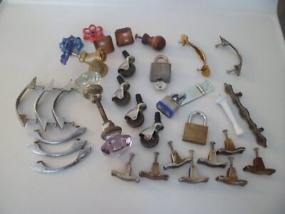 Junk Drawer Lot 28 Antique Vintage Door Knobs Handles Metal Glass & Brass LOCKS