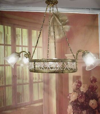 Antique Vintage Chandelier Bronze Oval Crystals 8 Light Glass Shades French