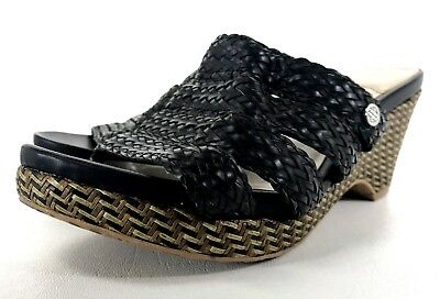 cea53778b7dfa WOMENS DANA BUCHMAN Wedge Sandal Slip on Shoe Black Woven 8.5 Medium ...