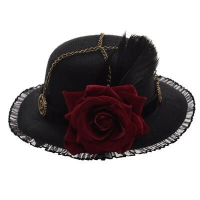 Vintage Steampunk Mini Top Hat Victorian Cosplay Feather Gear Rose Lace Headwear
