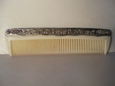 "Vintage Antique Silver & White Celluloid Plastic Comb 7-1/4"" Sturdy & Beautiful"