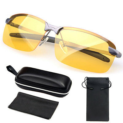Mens Night Driving Glasses HD Anti Glare Vision Yellow Lens Unisex with Bag Box
